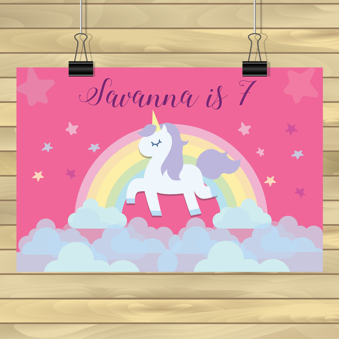 Custom Magical Unicorn Birthday /  Unicorn Backdrop - Happy Birthday Unicorn