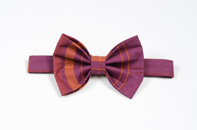 Little Guy Bow Tie - Plum and Orange Plaid