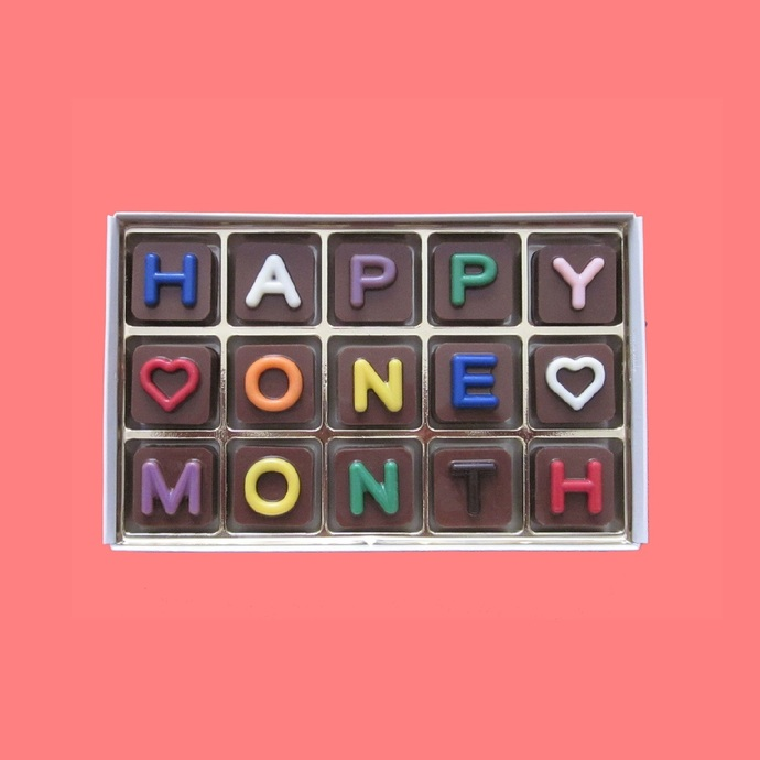 Happy One Month Chocolate Message Gift 1st first Month Anniversary Gift for Men