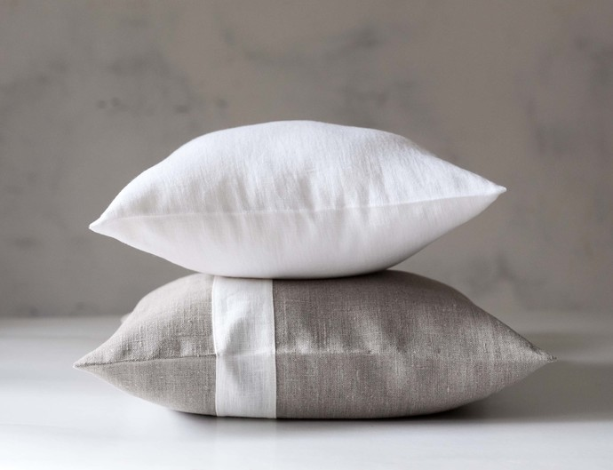 White linen pillow cover 16x16 inch size, decorative pillowcase. Euro sham,