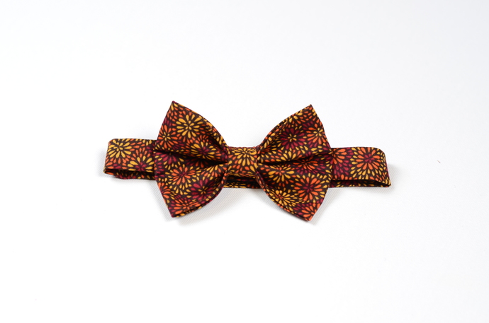 Little Guy Bow Tie - Multicolored Mums