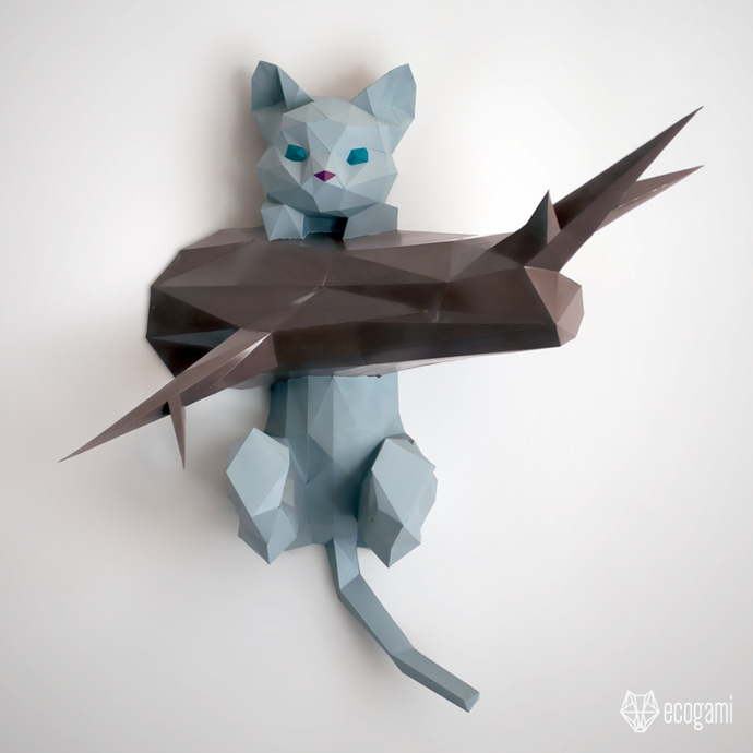 Hanging Kitten Papercraft Diy Wall Mount 3d By Ecogami On Zibbet