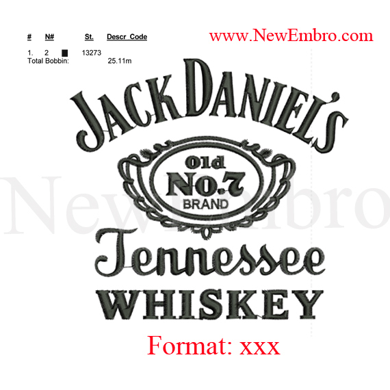 Custom embroidery jack daniels simple whiskey by newembro