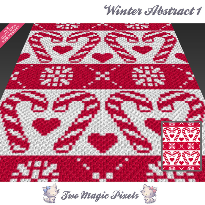 Winter Abstract 1 crochet blanket pattern; c2c, cross stitch; graph; pdf