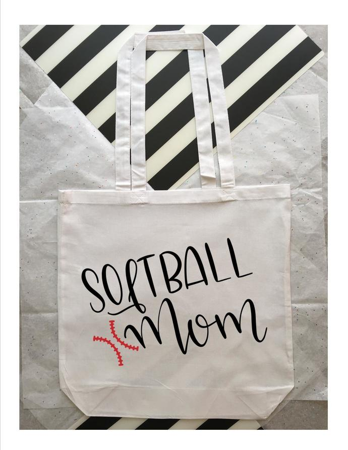 Custom Softball Mom Tote Bag, Personalized Mom Bags