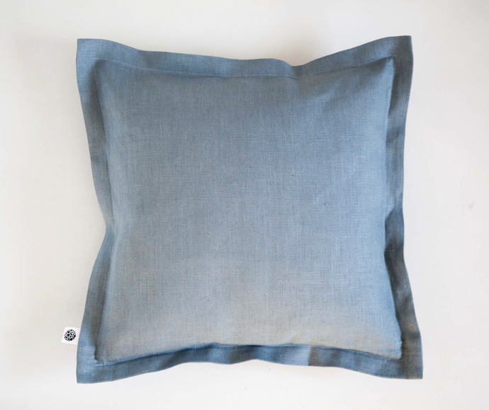 Linen throw pillow flanged around. Vintage inspired, custom size decorative