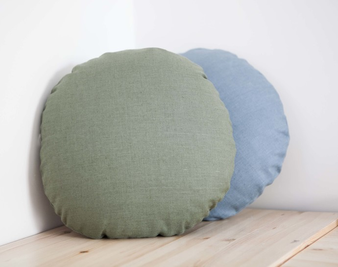Round linen pillow cover for floor seating, yoga pillow or linen cosleeper