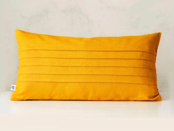 Lumbar throw pillow cover with horizontal decorative lines. Custom size.