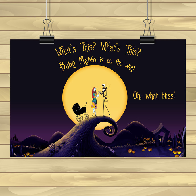Custom Nightmare Before Christmas Backdrop /  Baby Shower Backdrop