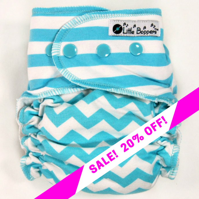 CLEARANCE SALE! Aqua White Stripes and Chevron Combo