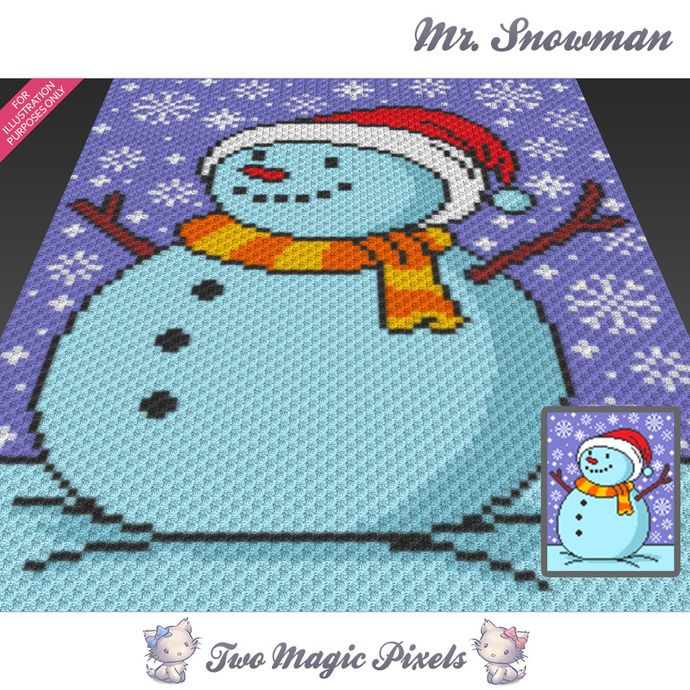 Mr. Snowman crochet blanket pattern; c2c, cross stitch; graph; pdf download; no