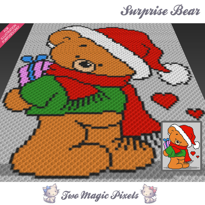 Surprise Bear crochet blanket pattern; c2c, cross stitch; graph; pdf download;