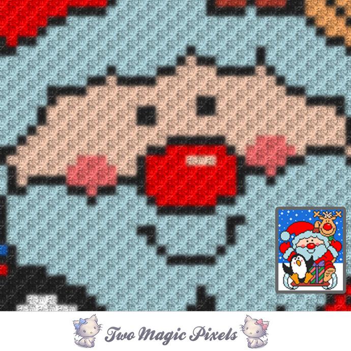 The Christmas Crew crochet blanket pattern; c2c, cross stitch; graph; pdf