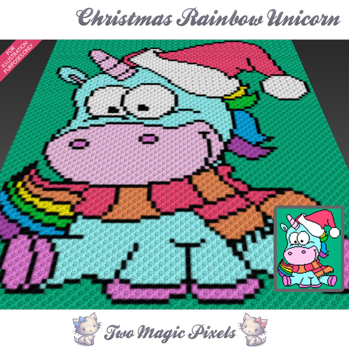 Christmas Rainbow Unicorn crochet blanket pattern; c2c, cross stitch; graph; pdf