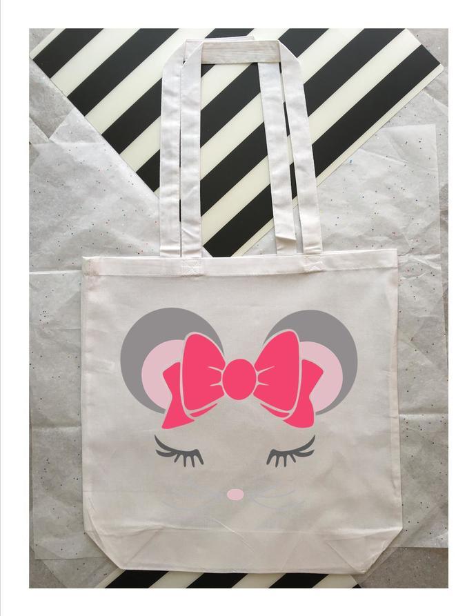 Cute mouse custom tote bag, kids book bag, trendy tote bags, Mouse Ears, Minnie