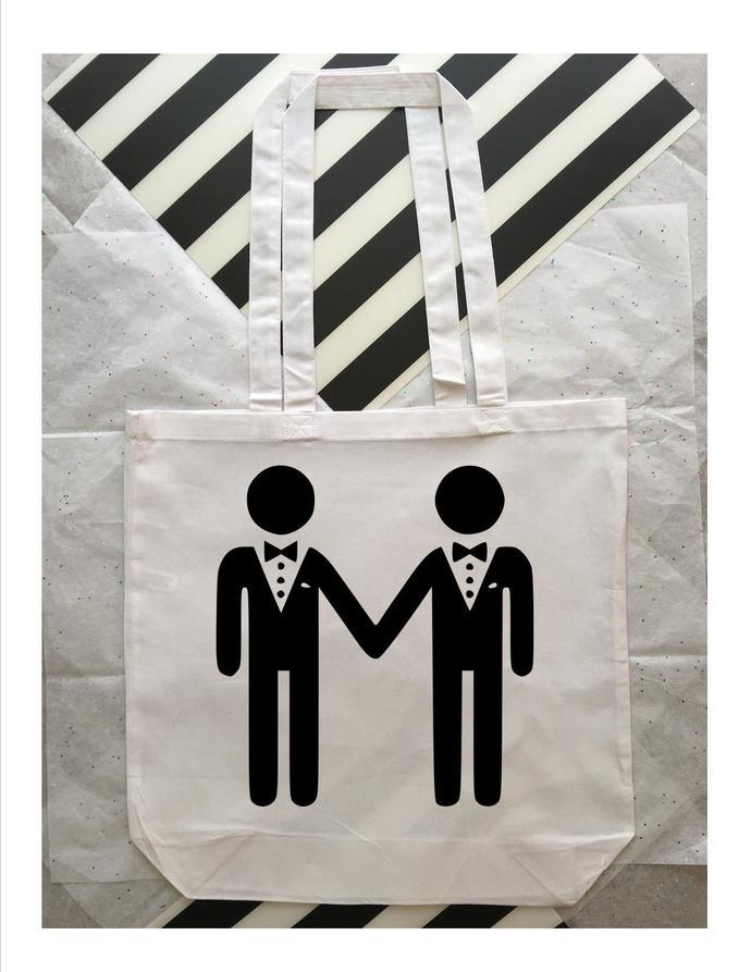 Love is Love, Custom tote bags, Gay wedding tote bags, same sex wedding party