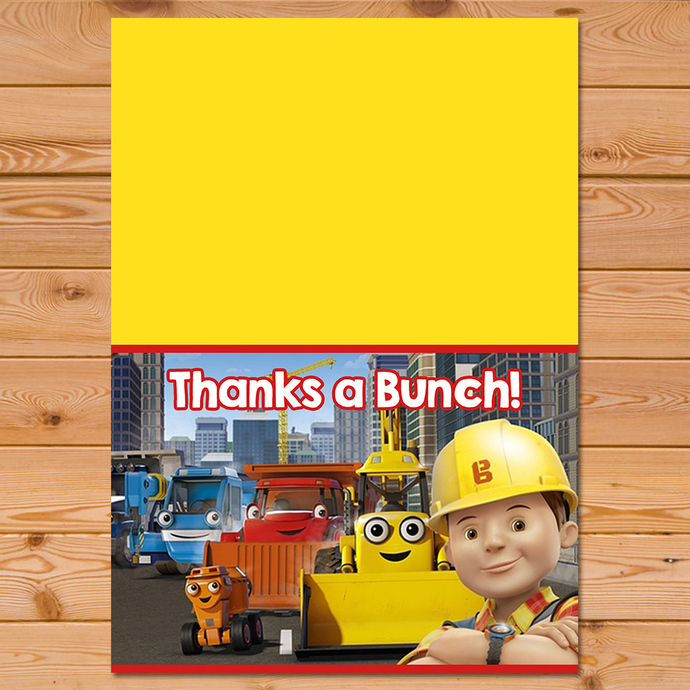 Bob The Builder Folded Thank You Card *  Bob The Builder Thanks * Bob The