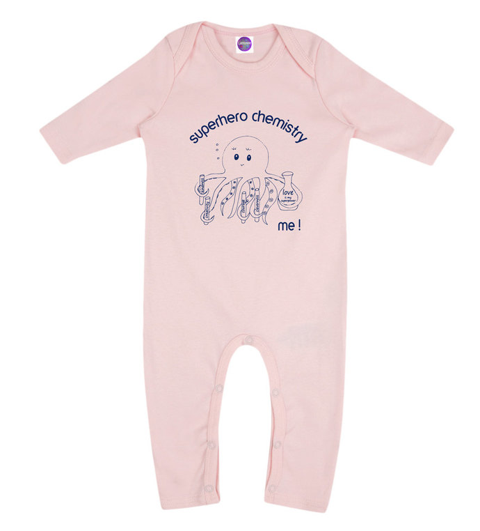 Organic Cotton Onesie SUPERHERO CHEMISTRY Love is my superpower!