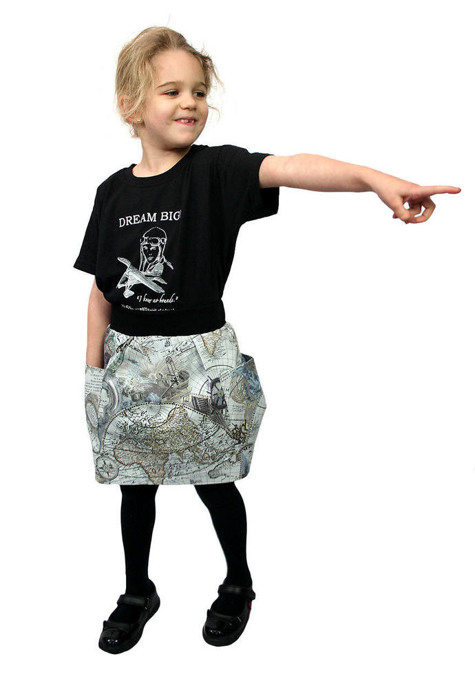 World Explorer, World Map Unisex Pocket Skirt