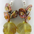 Autumn Leaves Earrings - handmade, artisan lampwork, leaves, hessonite garnet,