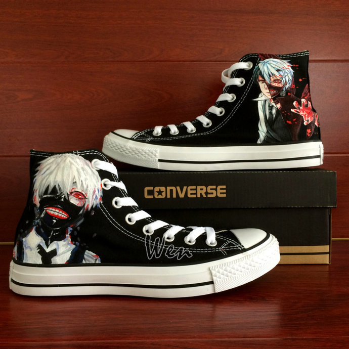 Hand Painted Canvas Shoes Converse All Star Anime Tokyo Ghouls Drawn Fashion