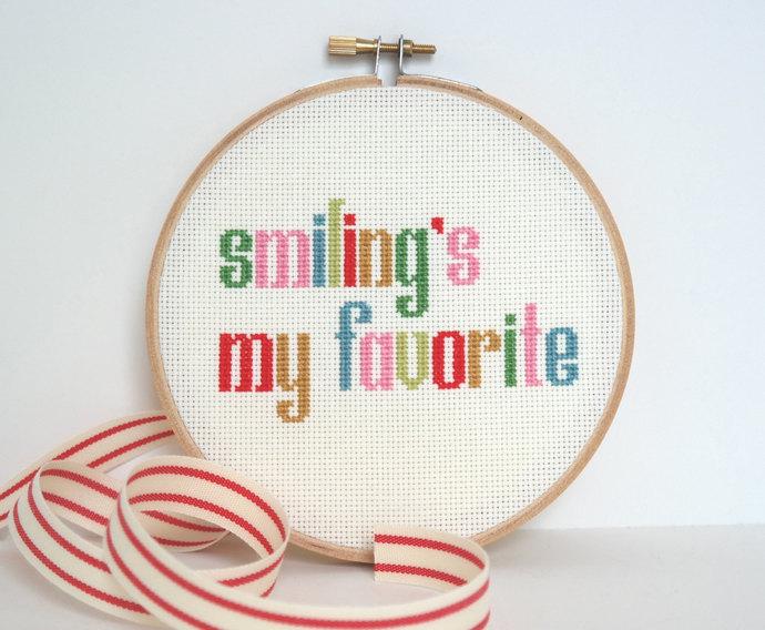Smiling's My Favorite | Modern cross stitch | Movie quote