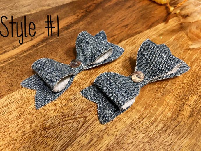 Demim hair clips | demim bow ties | denim | button | hair clips | hair clips for
