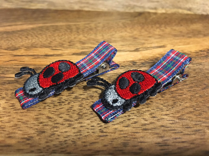 Ladybug hair clip | plaid hair clip | toddler hair clip | hair clip for girls |