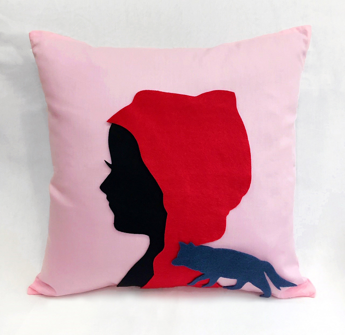 Little Riding Hood Silhouette Pink Decorative Pillow Cover. 16inch Fairy Tale