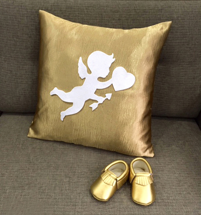 Cupid Love Gold Nursery Pillow Cover Gold Booties Baby Gift Set Baby Shower