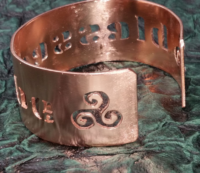 Blessed Be, hand-cut copper cuff bracelet