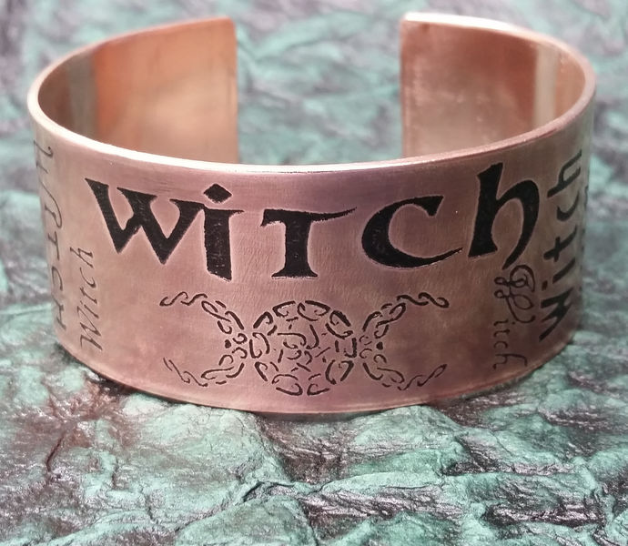 """Witch"" etched copper fonts cuff bracelet"