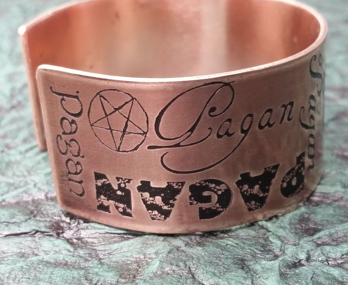 """Pagan"" etched copper fonts cuff bracelet"