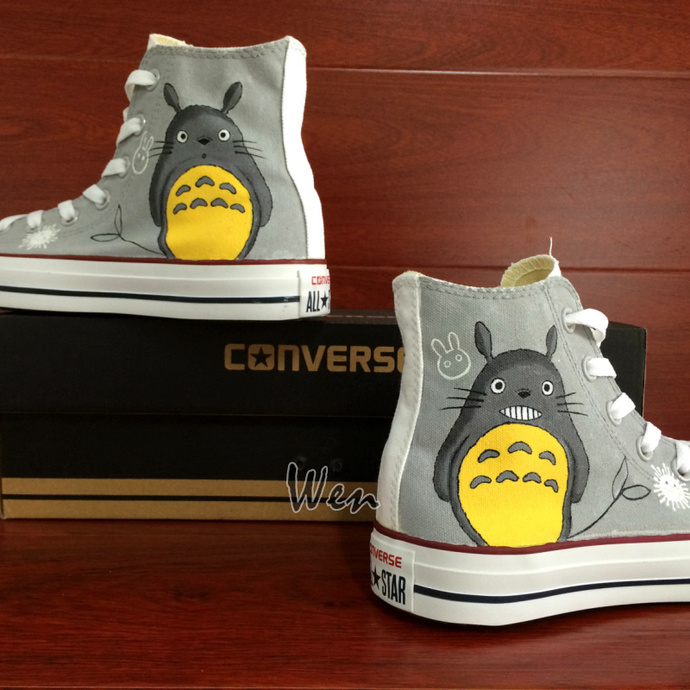 Anime Canvas Shoes Hand Painted Converse My Neighbor Totoro Design Sneakers High