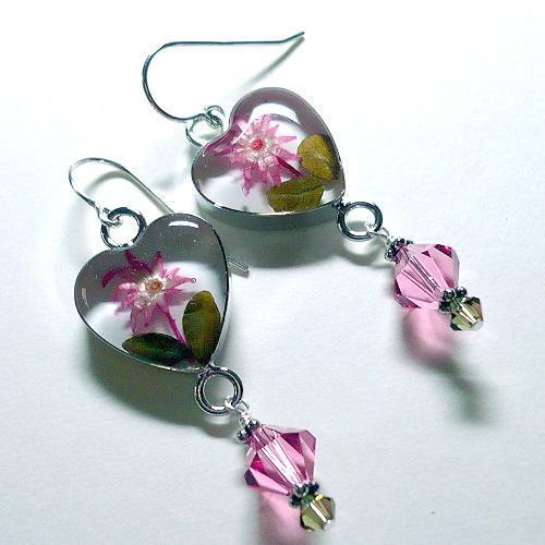 Swarovski Rose & Khaki Heart Flower S/S Earrings