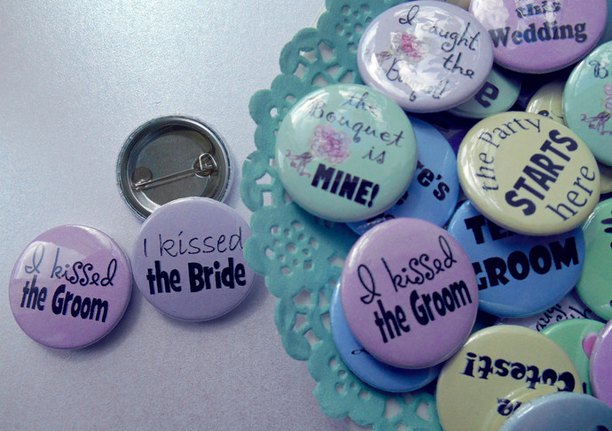 """Fun Wedding Party Pastel and Customised Favour Badges Set of 50 size 25mm (1"""")"""