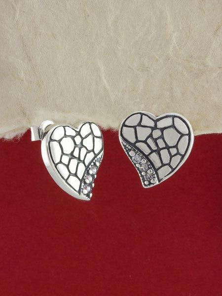 925 Sterling Silver Heart Earrings/ Silver Earrings/ Handmade Earrings/Sterling