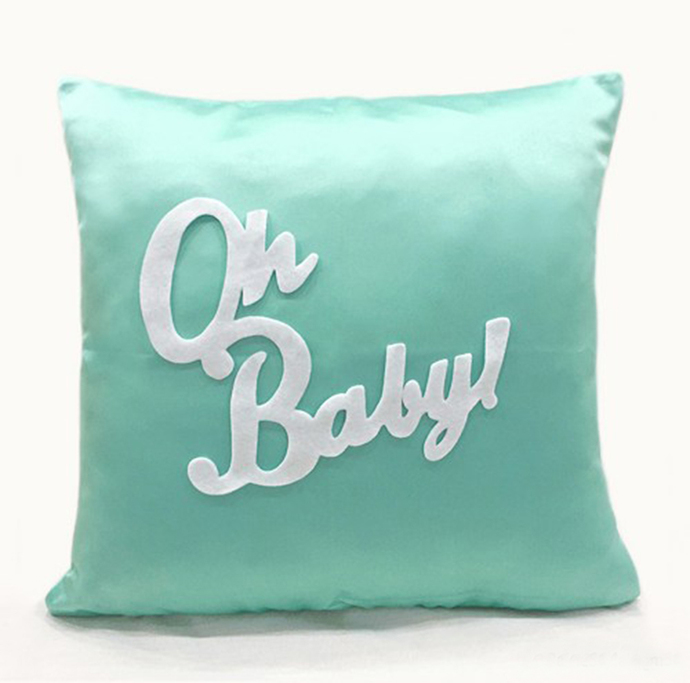 Custom Your Color. Oh Baby Light Grey Turquoise Decorative Pillow Cover. Handcut