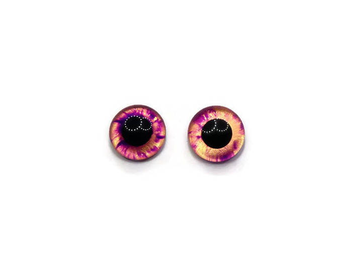 20mm German Glass Eyes Hand Painted Colour: Purple & Gold Shimmer Uses: Teddy