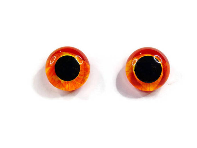 16mm German Glass Eyes Hand Painted Colour: Orange & Yellow Uses: Teddy Bear,