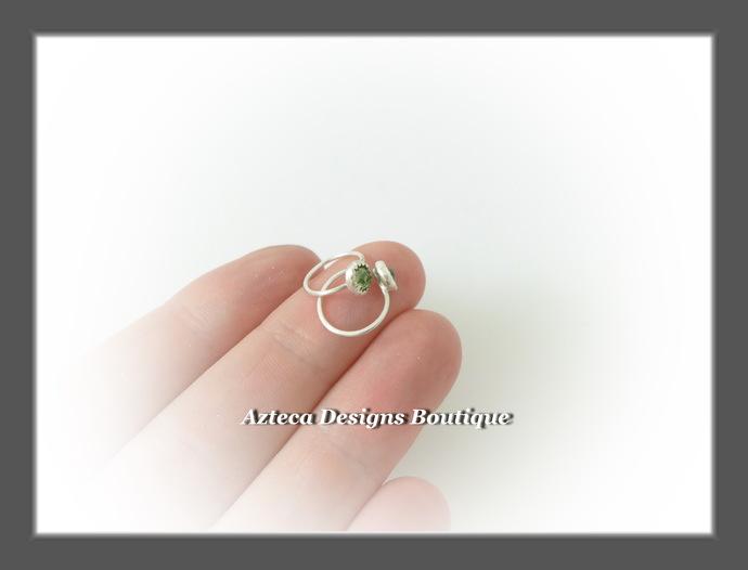 Teeny Tiny Open Hoops Peridot Swarovski Crystal Sterling Silver Artisan Earrings