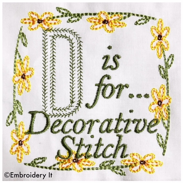 Embroidery Words Alphabet Letter D - Machine Embroidery Design in Pes, Dst, Exp,
