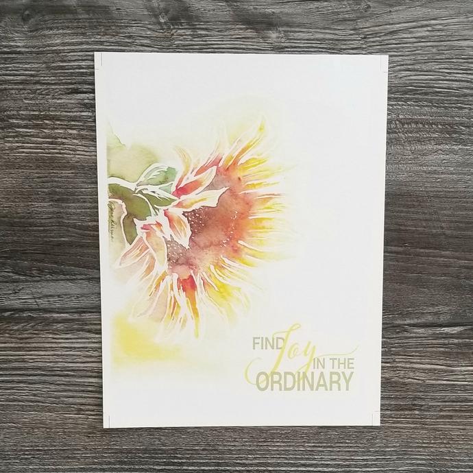 Watercolor Sunflower Download - Find Joy in the Ordinary - Original Art - 8x10