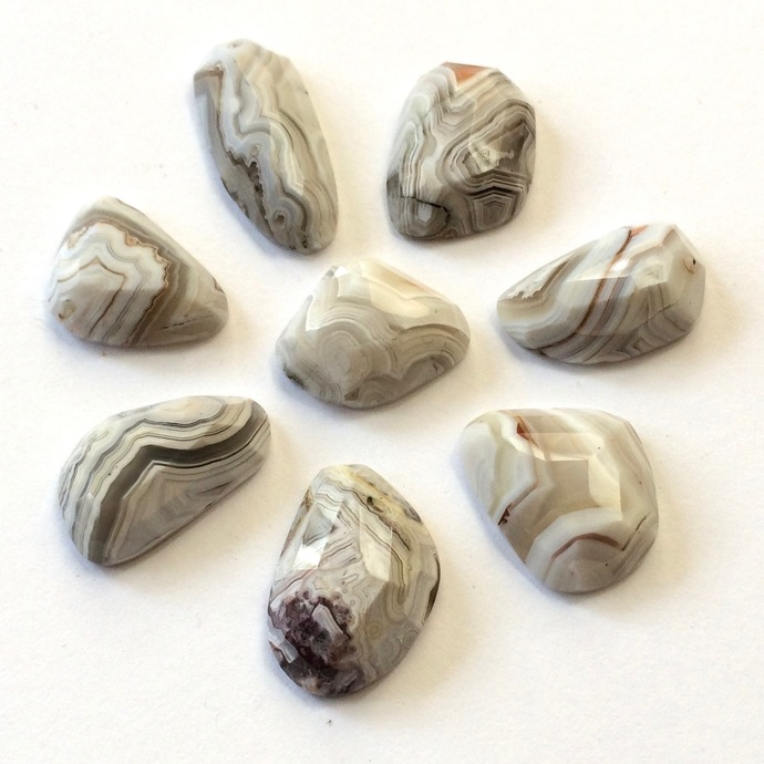 White Crazy Lace Agate Gemstone Cabochon Free Form Faceted Parcel EIGHT CABS