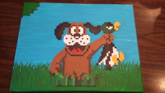 11x14 Duck Hunt, Nintendo, Acrylic Painted Canvas, Pixel Art, Perler Art