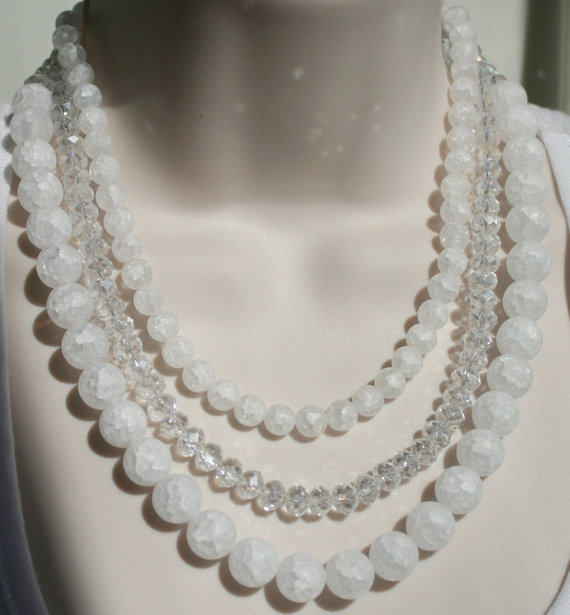 Chunky White Cracked Quartz Statement Necklace, Snowball Quartz Wedding Jewelry,