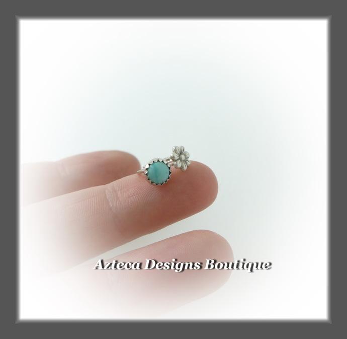 Teeny Tiny Open Hoops Turquoise Flower Sterling Silver Artisan Earrings
