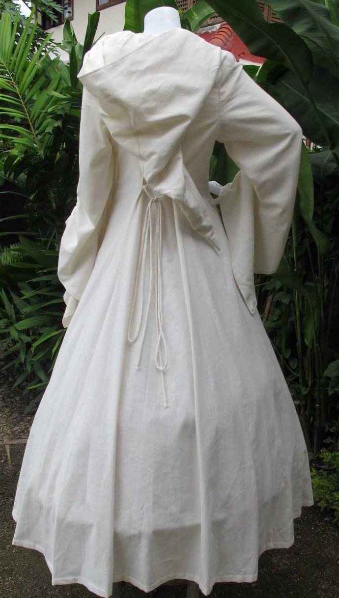 White Hooded Dress Long Medieval Cloak Ren Medievalology