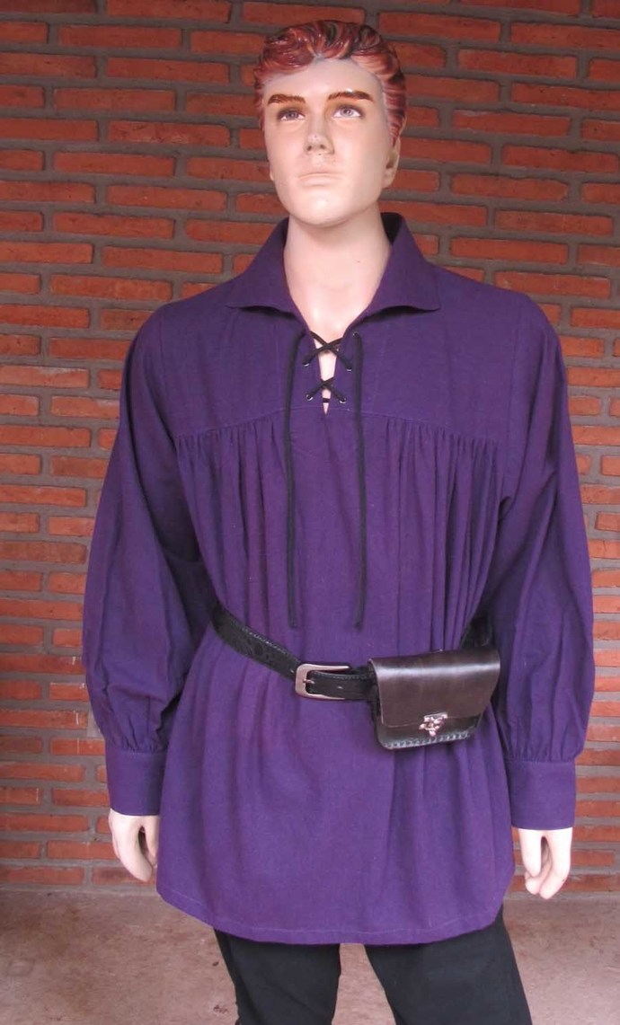 Purple Pirate Shirt, Medieval Costumes, Ren Faire Attire, Lace Up Poet's Shirt,
