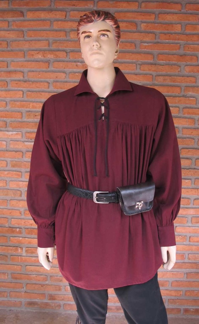 Maroon Pirate Shirt, Medieval Costumes, Ren Faire Attire, Lace Up Shirt, Plus